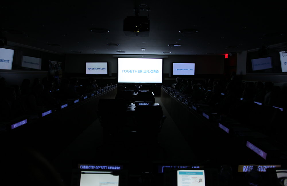 Proyección del video promocional de JUNTOS en la Sede de las Naciones Unidas con motivo del Día Internacional del Migrante