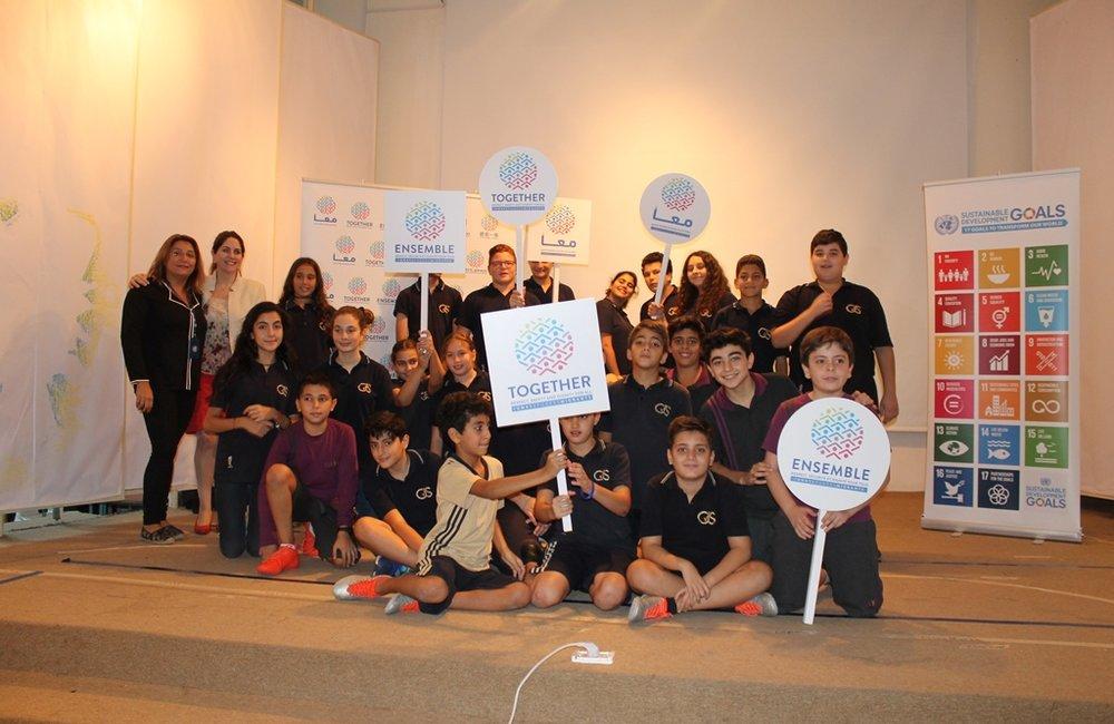 أقام مركز الأمم المتحدة للإعلام في بيروت فعالية تثقيفية للتلاميذ بشأن حملة معا